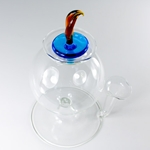 Hand Blown Murano Glass Inkwell with Pen Holder - TURQUOISE/AMBER Topper
