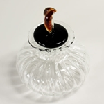 Small Murano Glass Inkwell with BLACK/AMBER Glass Topper