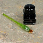 Murano Glass Dip Pen and Ink Set - GREEN/SILVER/AMBER