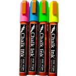 Chalk Ink Wet Wipe Markers - FLUORESCENT 4-PACK 15mm