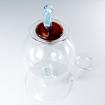 Hand Blown Murano Glass Inkwell with Pen Holder - AMBER/LIGHT BLUE Topper
