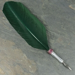 Feather Quill Pen - GREEN w/ PURPLE Glass Bead