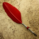 Long Straw Feather Quill Pen - RED