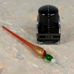 Murano Glass Dip Pen and Ink Set - RED/GREEN/GOLD