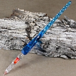 J Herbin Spiral Handle Frosted Glass Pen - BLUE