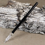 J Herbin Straight Handle Frosted Glass Pen - BLACK