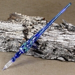 Marbled Glass Dip Pen - BLUE