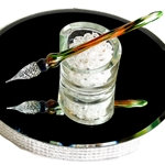 Mercury Glass Dip Pen - GREEN/ORANGE MARBLE
