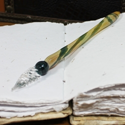 Mercury Glass Dip Pen - AMBER AND GREEN MARBLE